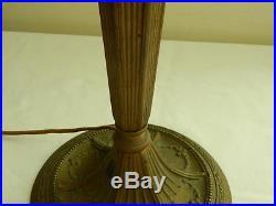 Antique Miller Co Bronzed Spelter & Cast Iron 8-Panel Slag Glass Table Lamp