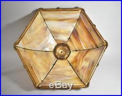 Antique Miller Lamps Two Socket Bent Slag Caramel Glass Panel Table Lamp