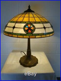 Antique Miller Leaded Lamp-Handel Tiffany Duffner arts & crafts era slag glass