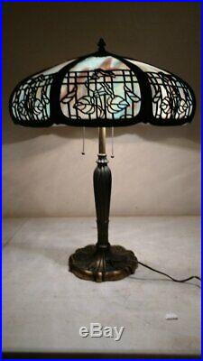 Antique Miller Slag Glass Lamp with Eight panels, Early shade Handel Era