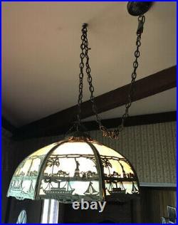 Antique Miller Statue Of Liberty Slag Glass Hanging Lamp Shade Light Art Nouveau