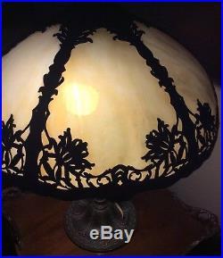 Antique Miller Style Slag Glass Metal Overlay Lamp