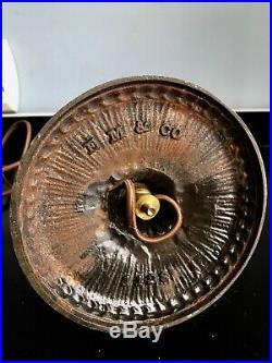 Antique Miller green Slag Glass Boudoir Lamp 2 x signed Handel, B&H period
