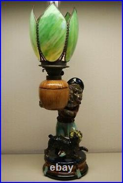 Antique Minton Majolica Porcelain Nouveau Monkey Oil Lamp Whimsical Slag Glass