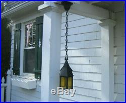 Antique Mission Arts & Crafts Porch Light Lamp Slag Glass Witch Hat Gothic 1930s
