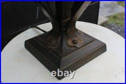 Antique Mission Iron Arts & Crafts Slag Glass Table Lamp Stickley Era Gas Lamp