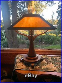 Antique Mission Oak Table Lamp Oak And Gold Slag Glass 23