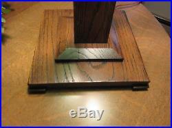 Antique Mission Oak Table Lamp Oak And Green Slag Glass Acorn Pulls 23 High Sha
