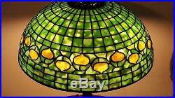 Antique Original Authentic Tiffany Studios Acorn Leaded Slag Stained Glass Lamp