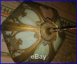 Antique Ornate 6 Panel Slag Glass Table Lamp Shade Parts Repair