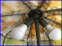 Antique Outstanding CHICAGO EMPIRE Slag Glass Lamp Swans Verdi Green