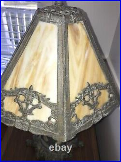 Antique PEH Victorian Lamp With White Slag Glass Shade With Amber Mix Colors