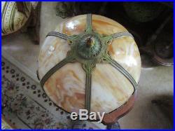 Antique PITTSBURGH ART DECO Caramel Slag Glass Parlor Lamp LOVELY & WORKS