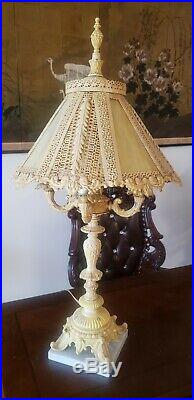 Antique Pierced Metal Slag Glass 4 Arm Candelabra French Table Lamp. 30'' Tall