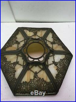 Antique Pittsburgh Flower Basket Filigree & Curved Caramel Slag Glass Lamp Nice