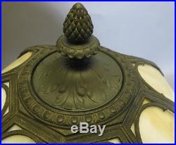 Antique Rainaud Bent Panel Slag Glass Lamp c. 1910 Signed Art Nouveau Handel