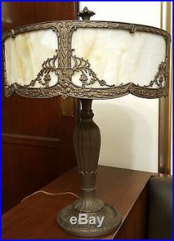 Antique Rainaud Slag Glass Lamp Signed Art Nouveau Ornate Cast Metal Crafts