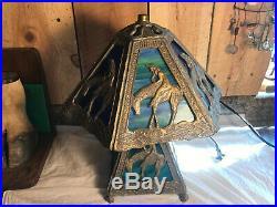Antique Rare End of Trail Lead Slag Glass Lamp Art Nouveau