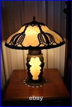 Antique Rare Figural Art Nouveau Bent Slag Glass Table Panel Lamp Lighted Base