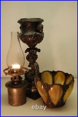 Antique Rococo Victorian Boston Sandwich Slag Amber Glass Kerosene Cherub Lamp