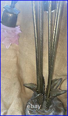Antique Rose Petal Glass Shade Drop Hanging Ceiling Chandelier Slag Glass Lamps
