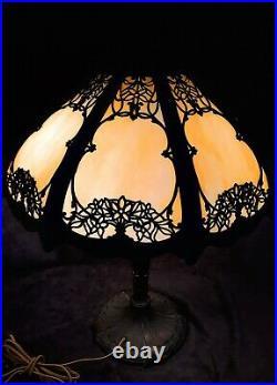 Antique Royal Art Glass Co. Caramel Slag Glass Lamp 18 Shade Signed Base c1910