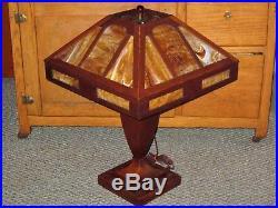 Antique STICKLEY ERA Mission Arts & Crafts Tiger Oak Slag Glass Large Table Lamp