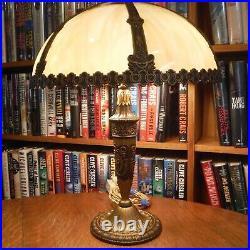 Antique Salem Brothers Bent Slag Glass Lamp Bradley & Hubbard Miller Styles