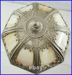 Antique Salem Brothers Cast Iron 8 Panel Glass Slag Table Lamp