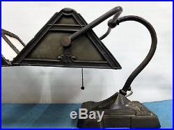 Antique Scarce Pair Art Deco Banker Gooseneck Desk Table Lamp Slag Glass Rare