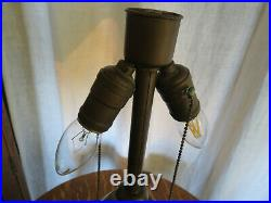 Antique Scenic Overlay Slag Glass Lamp Bradley Hubbard Handel Miller Era