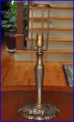 Antique Scenic Overlay Slag Glass Lamp Miller