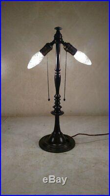Antique Signed Bradley & Hubbard lamp for leaded, slag glass shade handel era