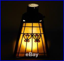 Antique Signed Handel Bronze Slag Glass Lamp Shade Arts & Crafts Light Hubbell