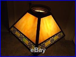 Antique Signed Handel Cast Iron Art Deco Tercota Slag Glass Table Lamp c. 1910