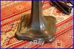 Antique Signed Handel Slag Glass Table Lamp