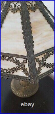 Antique Signed Miller 1136 8 Panel Slag Glass Lamp c. 1920s Art Deco H22