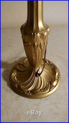 Antique Signed Pittsburgh 3 socket lamp base slag or leaded glass