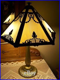 Antique Signed Rainaud Caramel 6 Panel Slag Glass Lamp. (JUST BEATIFUL!)