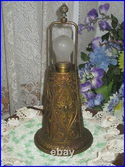 Antique Slag Glass 4 Panel'helmet' Electric Table Lamp Miller ML 246 Rare