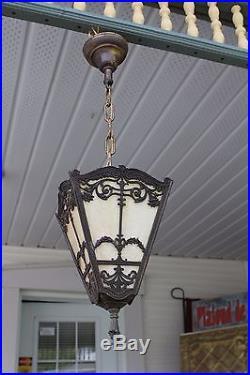 Antique Slag Glass 4 Sides Porch / Hall Pendant Light Fixture Hanging Lamp