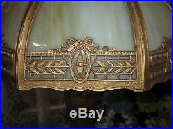 Antique Slag Glass 8 Panel Electric Table Lamp