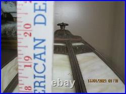 Antique Slag Glass 8 Panel Table Lamp Signed Rainaud 18