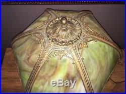 Antique Slag Glass Art Deco Table Desk Lamp Nice Color Cast Ca. 1920's
