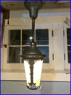 Antique Slag Glass Arts And Crafts Style Hanging Light Fixture Lamp 344