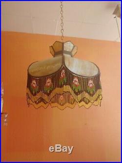 Antique Slag Glass Beaded Fringe Caramel Chandelier Hanging VictorianLamp Shade