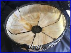 Antique Slag Glass Bent Panel Lamp Bradley & Hubbard Miller Era Need Minor Resto