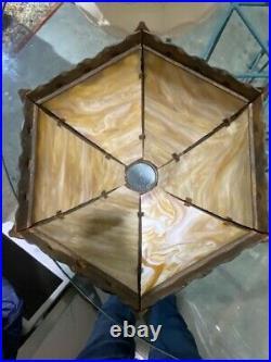 Antique Slag Glass Bronze Table Lamp