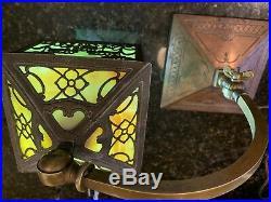 Antique Slag Glass Lamp Art Nouveau Arts & Crafts early 1900s Piano Bankers Lamp