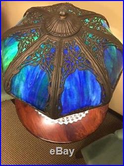Antique Slag Glass Lamp Blue circa 1900 1940